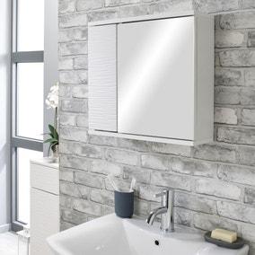 White Wave Mirror Cabinet