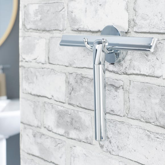 Chrome Shower Scraper with Hook Silver