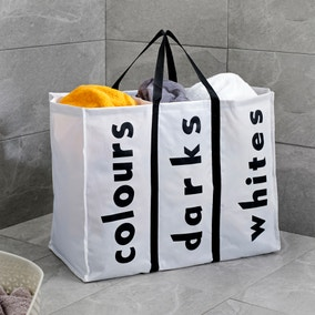 White 3 Section Laundry Bag