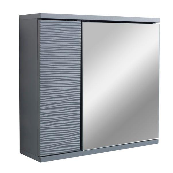 Grey Wave Mirror Cabinet Grey