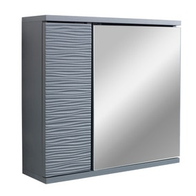 Grey Wave Mirror Cabinet