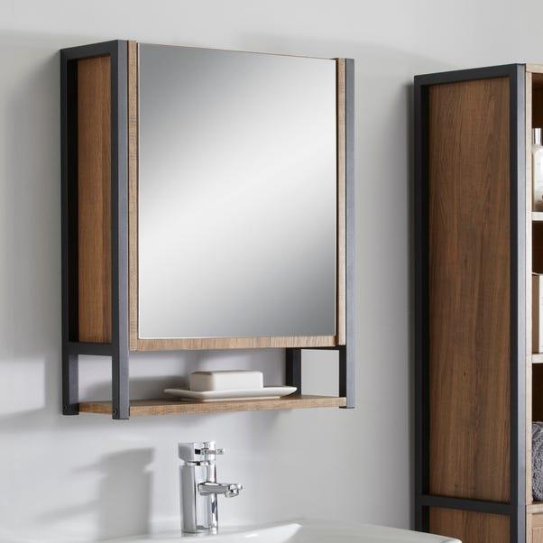 Industrial Mirrored Door Cabinet Brown