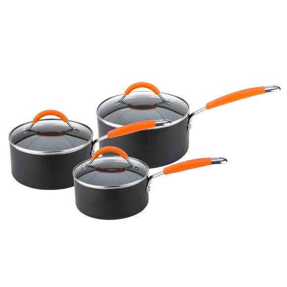 Joe Wicks Easy Release Aluminium Non-Stick 3 Piece Saucepan Set Black
