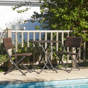 Naples Mocha Brown Folding Rattan Bistro Set