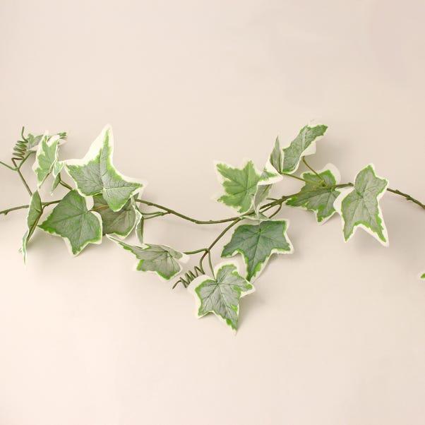 Flocked Ivy Garland Variegated 182cm Green