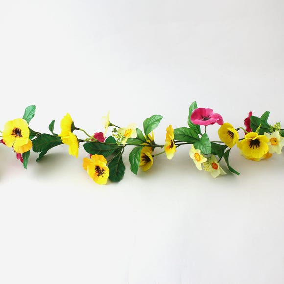 Pansy and Narcissus Garland 180cm Yellow