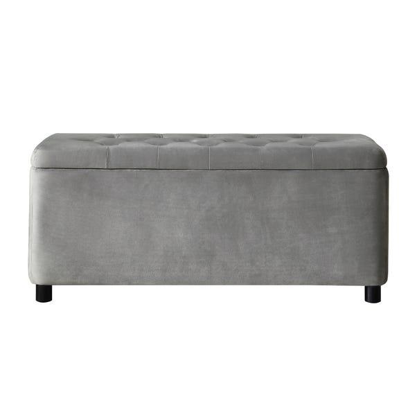 Florence Velvet Storage Ottoman Grey