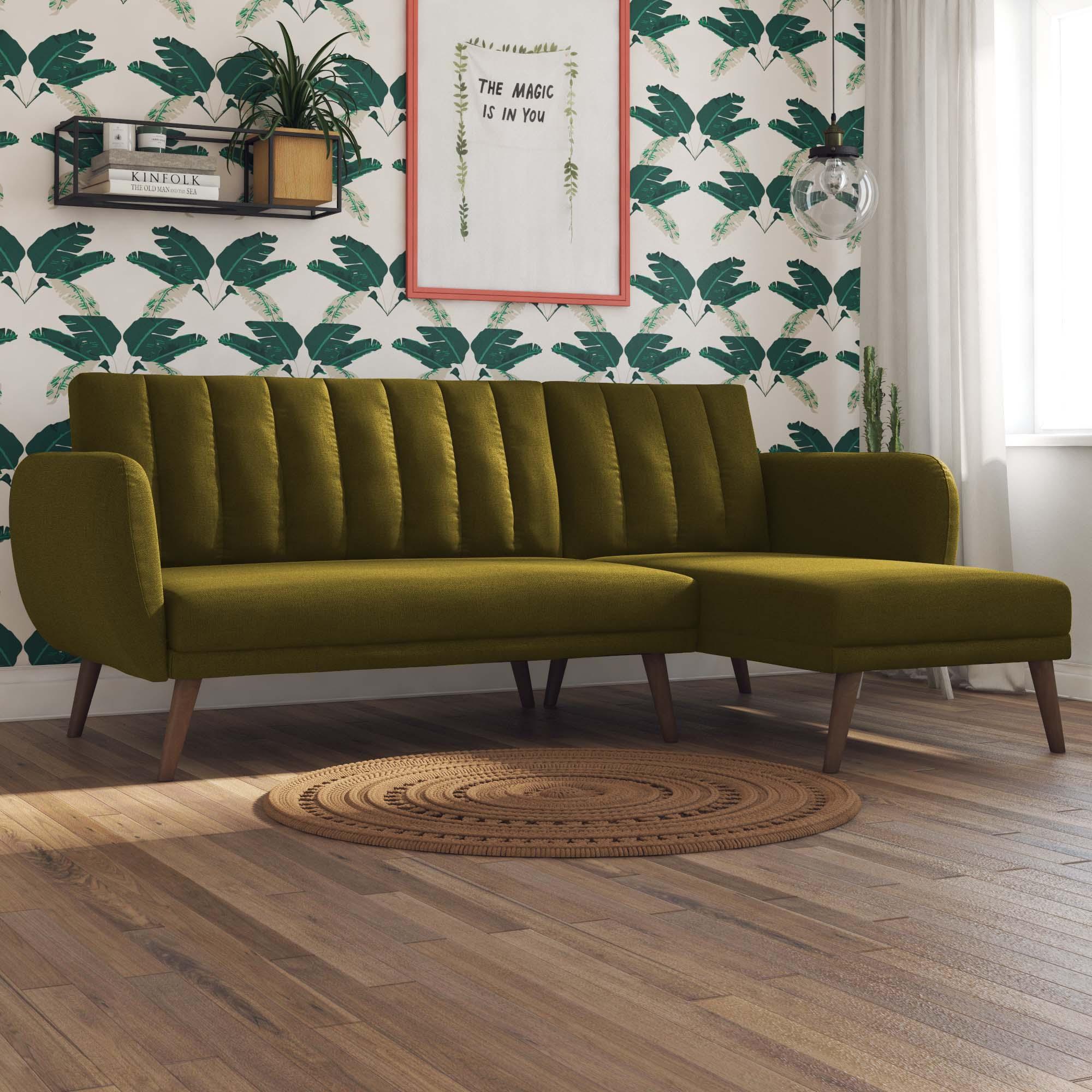 Brittany Linen Corner Sofa Bed Green