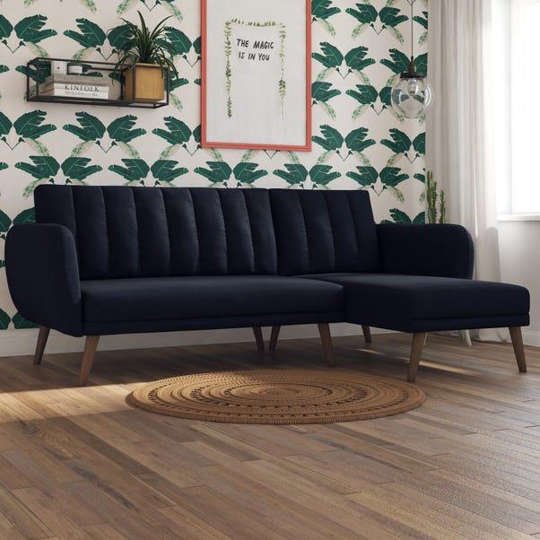 Brittany Linen Corner Sofa Bed Navy