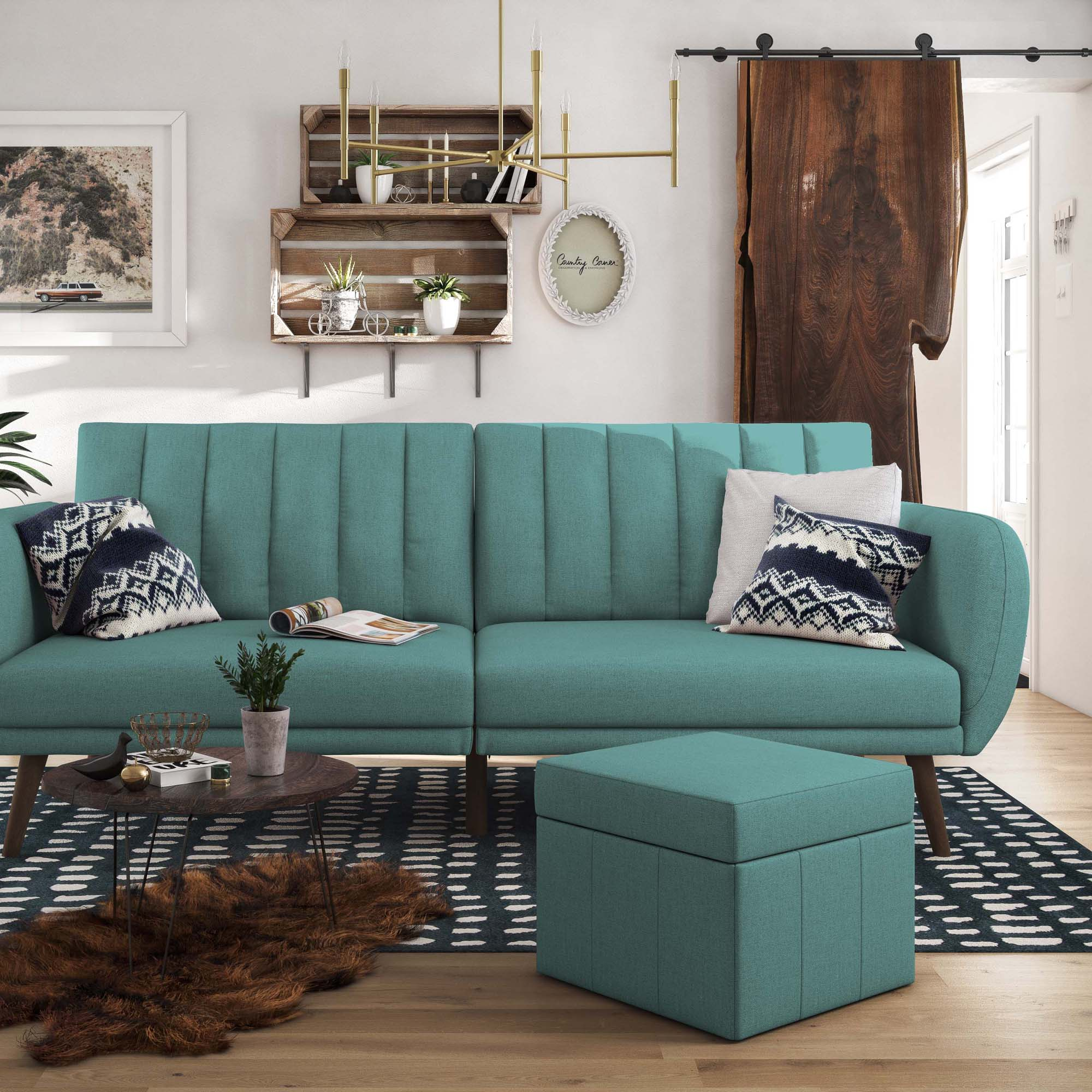 Brittany Linen Sofa Bed Blue