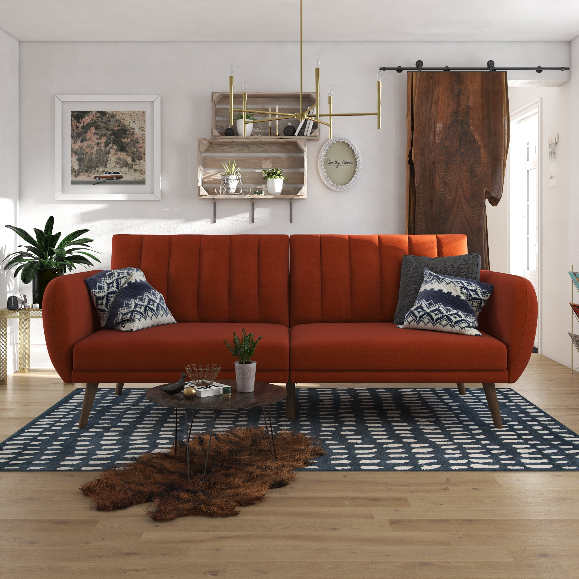 Brittany Linen Sofa Bed Orange