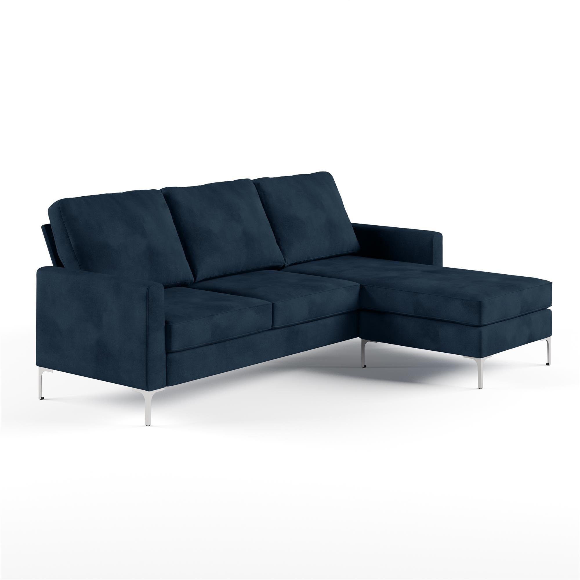 Chapman Velvet Reversible Corner Sofa Blue