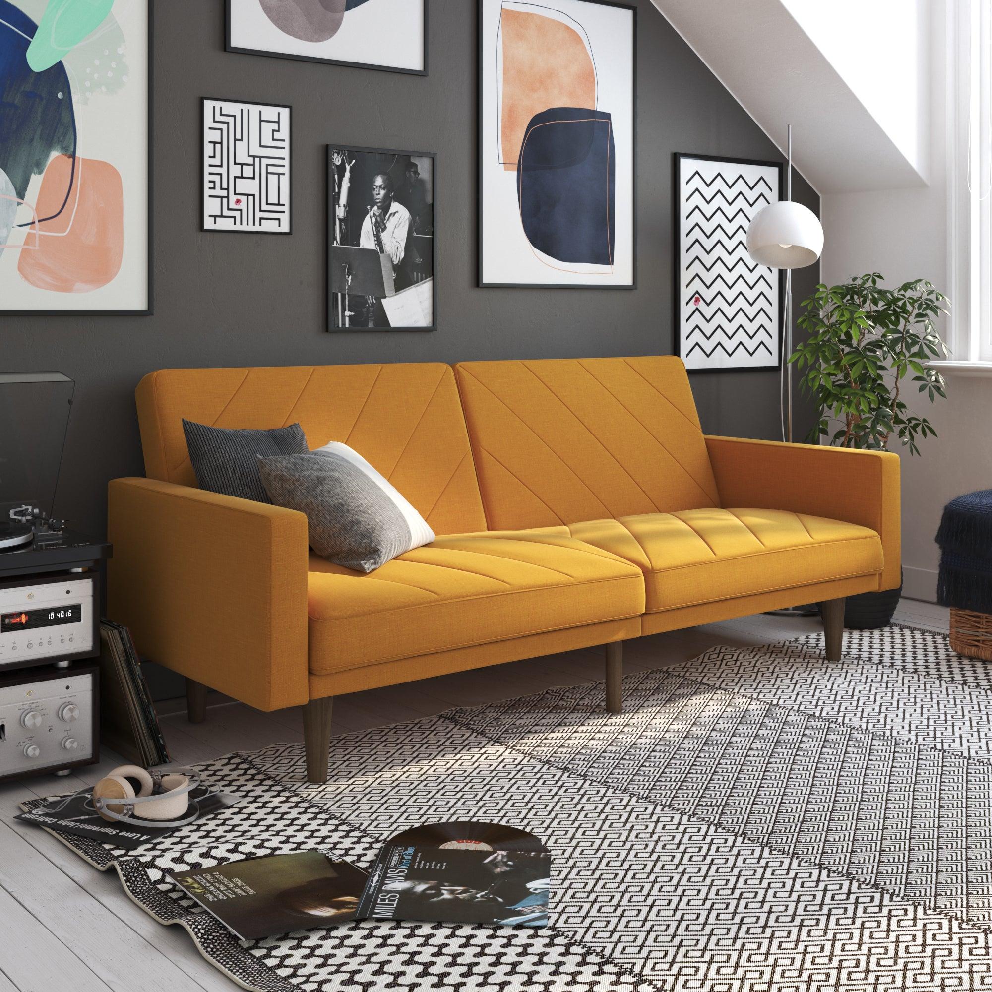 Paxson Linen Sofa Bed Yellow