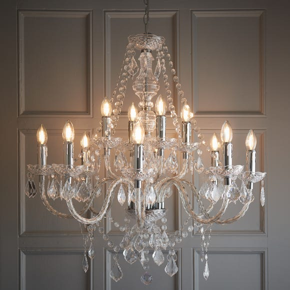 Endon Clarence 12 Light Chandelier Chrome Silver