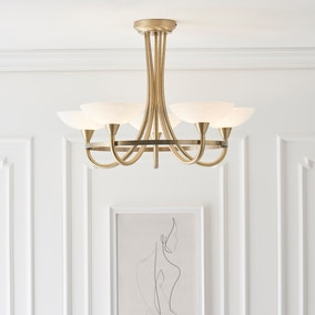 Endon Cagney 5 Light Semi Flush Ceiling Fitting Brass