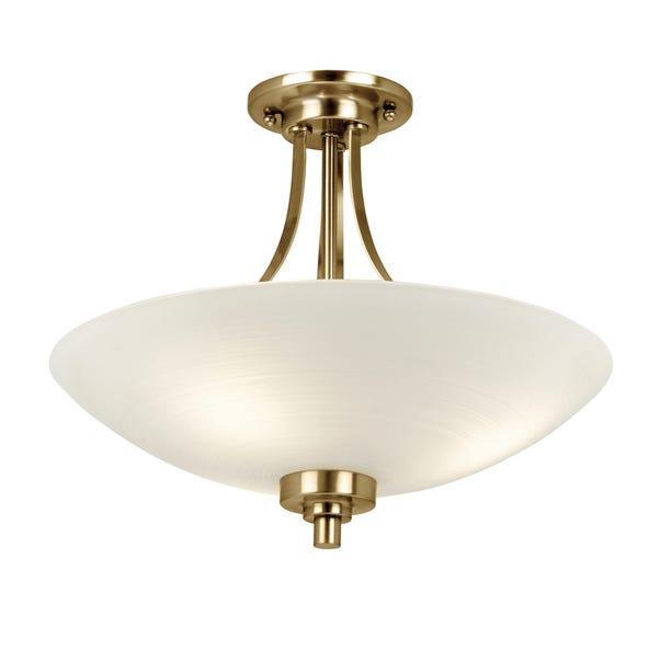 Endon Welles 3 Light Flush Ceiling Fitting Brass Brass