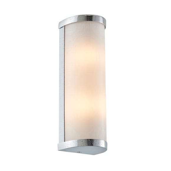 Endon Ice Diffused Glass Bath Wall Light Chrome Silver