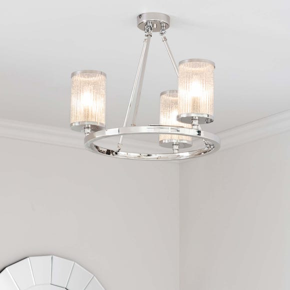 Endon Easton Ribbed Glass Semi Flush Ceiling Fitting Chrome Silver