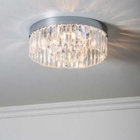 Endon Crystal Bath 5 Light Flush Ceiling Fitting Chrome