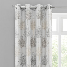 Jacquard Trees Dove Grey Eyelet Curtains