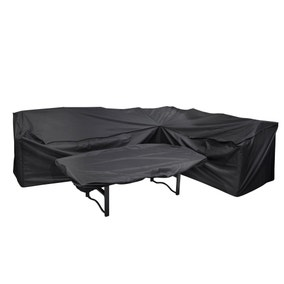 Heavy Duty Black L-Shaped Corner Sofa Cover