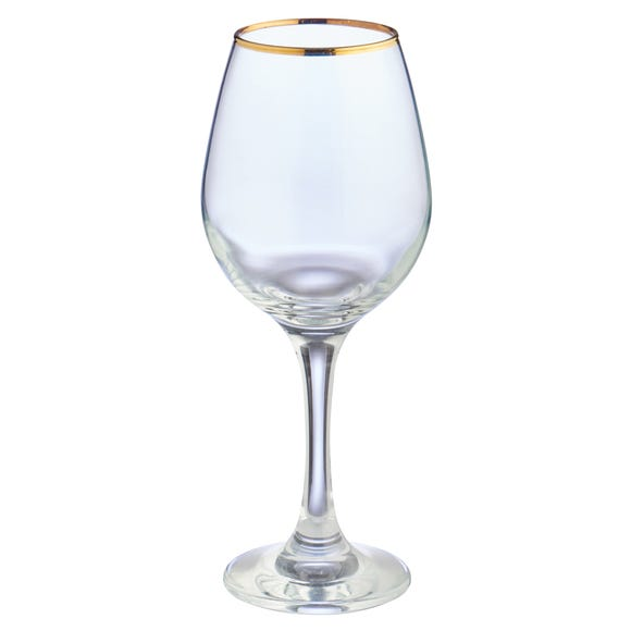 Set of 4 Gold Band White Wine Glasses Clear