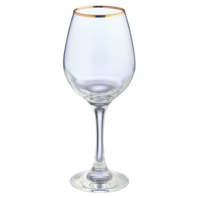 Pack of 4 Gold Band White Wine Glasses