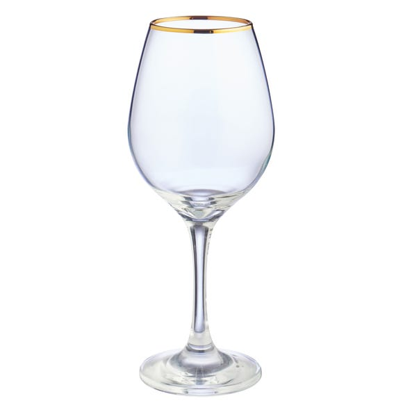 Set of 4 Gold Band Red Wine Glasses Clear