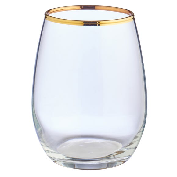 Set of 4 Gold Band Tumblers Clear