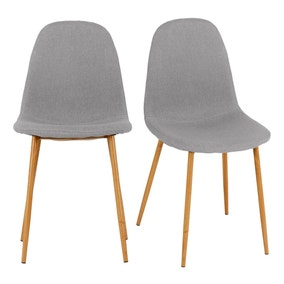 Bailey Set of 4 Dining Chairs Grey Fabric