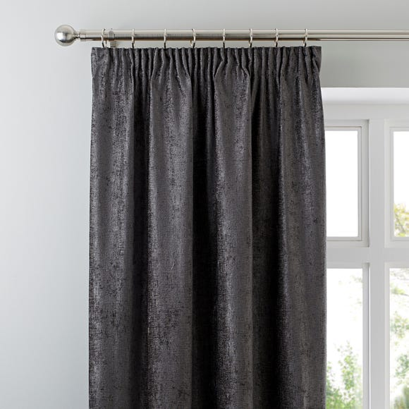 Chenille Grey Pencil Pleat Curtains  undefined