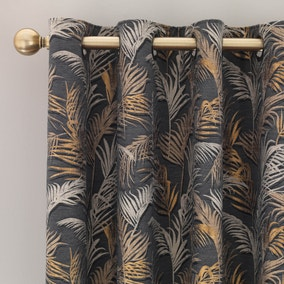 Palm Charcoal Eyelet Curtains