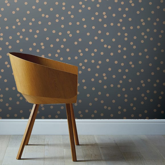Dotty Charcoal and Rose Gold Wallpaper Charcoal