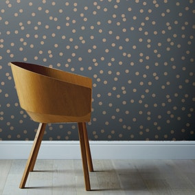 Dotty Charcoal and Rose Gold Wallpaper