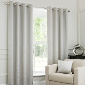 Ojen Dove Grey Eyelet Curtains