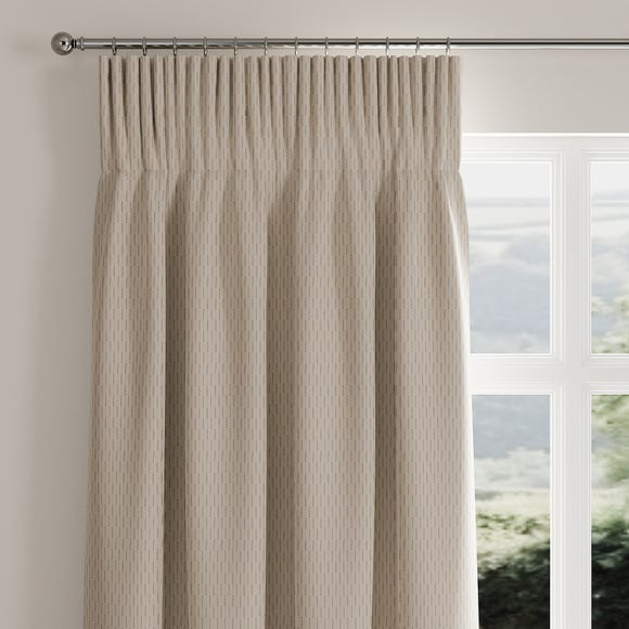 Stitch Lines Natural Pencil Pleat Curtains  undefined