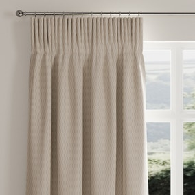 Stitch Lines Natural Pencil Pleat Curtains