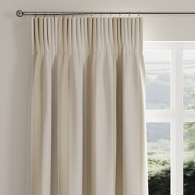 Ribbed Stripe Natural Pencil Pleat Curtains