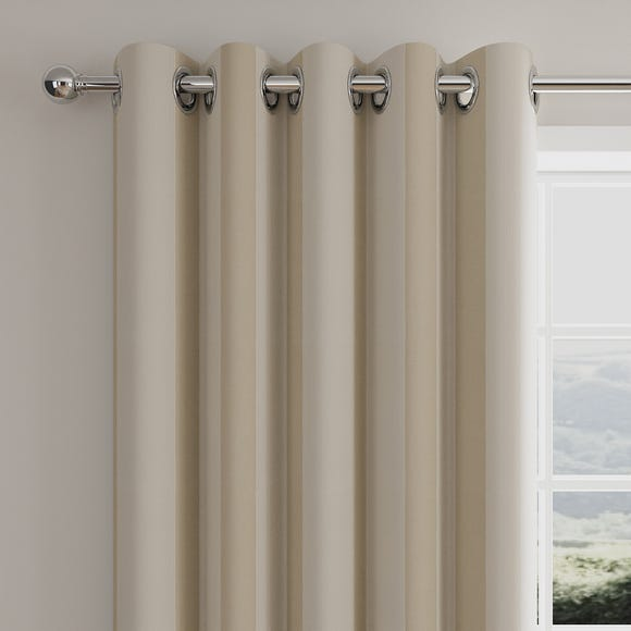 Ribbed Stripe Natural Eyelet Curtains  undefined