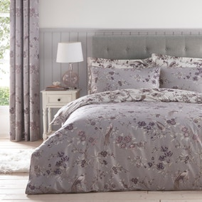 Oriental Bird Mauve Duvet Cover and Pillowcase Set