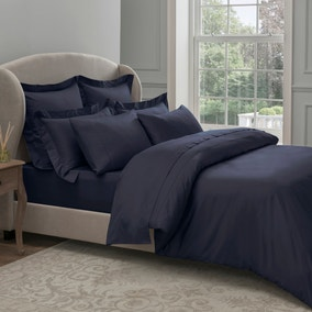 Dorma 300 Thread Count 100% Cotton Sateen Plain Navy Duvet Cover