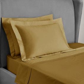 Dorma 300 Thread Count 100% Cotton Sateen Plain Ochre Oxford Pillowcase