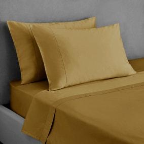 Dorma 300 Thread Count 100% Cotton Sateen Plain Ochre Housewife Pillowcase