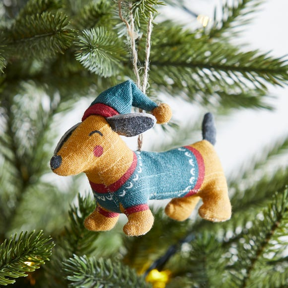 Sausage Dog Tree Decoration MultiColoured