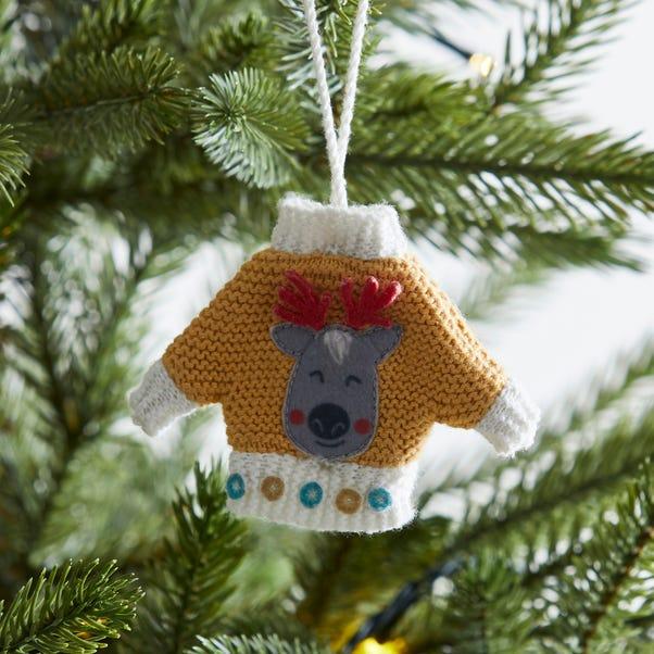 Festive Folk Reindeer Christmas Jumper Tree Decoration MultiColoured