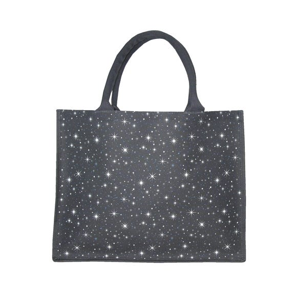 Grey Sparkle and Shine Large Shopper Bag Black and white
