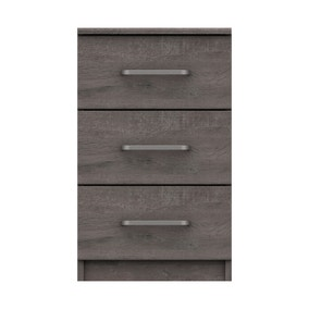 Parker Grey 3 Drawer Bedside Table