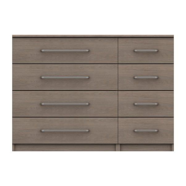 Parker Beige 8 Drawer Wide Chest Dark Wood (Brown)