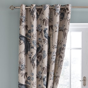 Palace Birds Jacquard Teal Eyelet Curtains