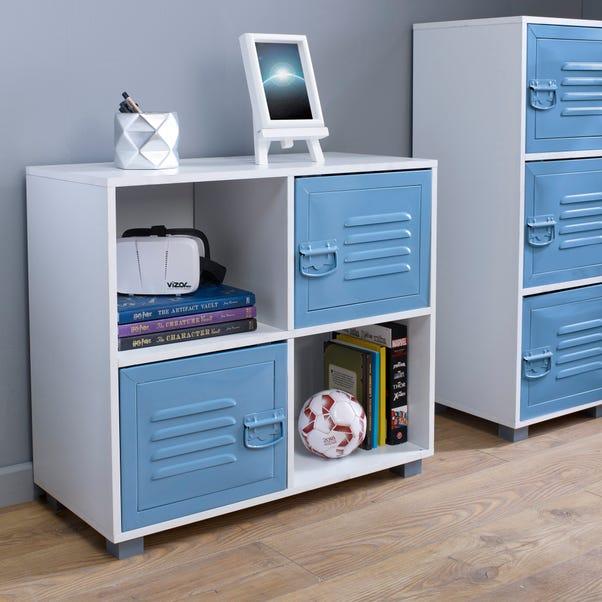Blue 4 Cube Metal Cabinet